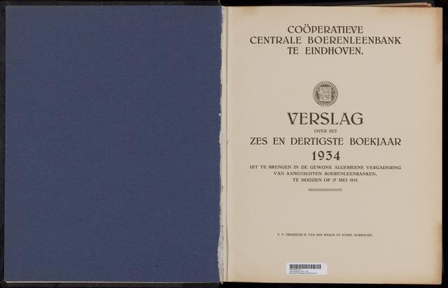 Jaarverslagen Coöperatieve Centrale Boerenleenbank 1934-12-31