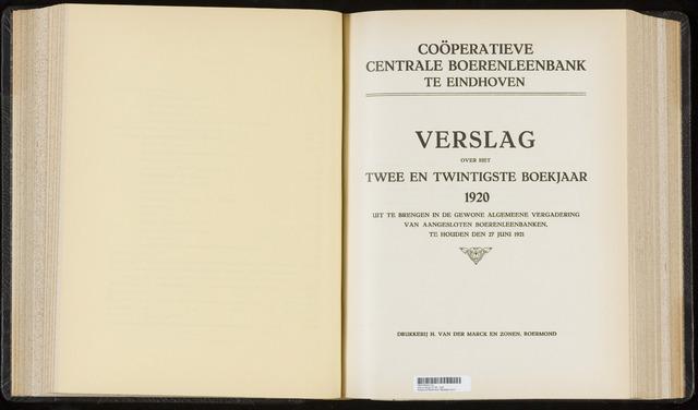 Jaarverslagen Coöperatieve Centrale Boerenleenbank 1920-12-31