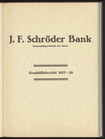 Geschäftsberichte Bankhaus Schröder 1927-01-01