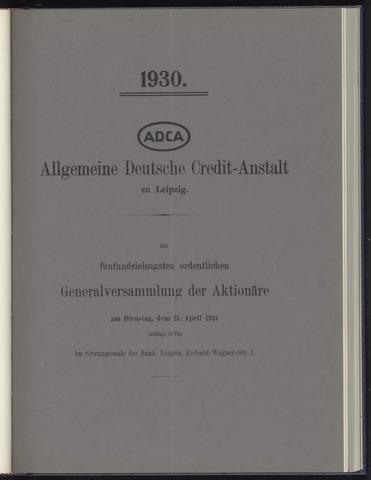 Geschäftsberichte Allgemeine Deutsche Credit-Anstalt / ADCA Bank 1930-01-01