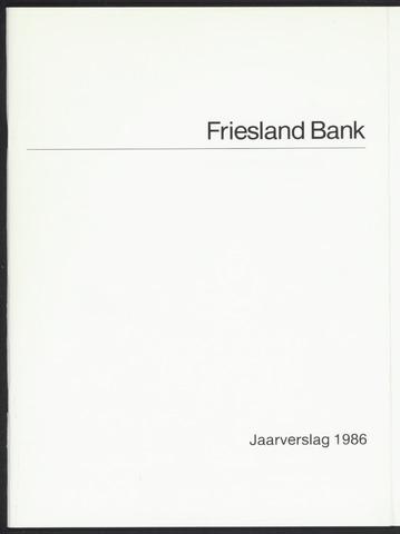 Jaarverslagen Friesland Bank 1986