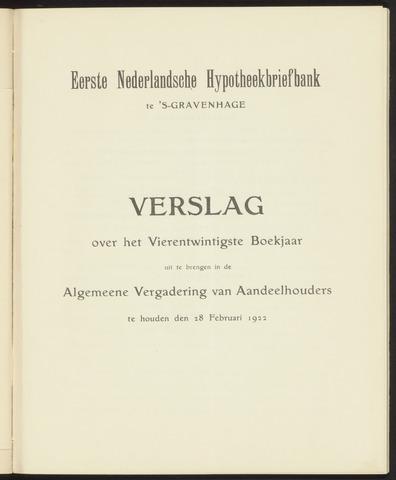 Jaarverslagen Eerste Nederlansche Hypotheekbriefbank 1921