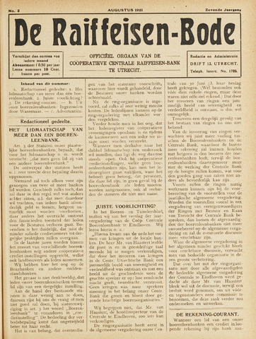 blad 'De Raiffeisen-bode' (CCRB) 1921-08-01