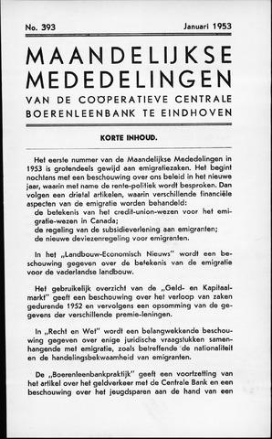 blad 'Maandelijkse Mededelingen' (CCB) 1953-01-01