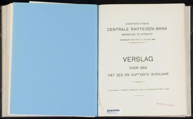 Jaarverslagen Coöperatieve Centrale Raiffeisen-Bank 1954