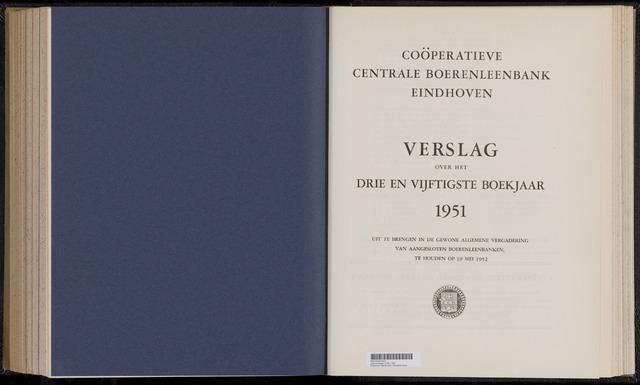 Jaarverslagen Coöperatieve Centrale Boerenleenbank 1951-12-31