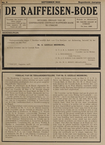 blad 'De Raiffeisen-bode' (CCRB) 1933-09-01