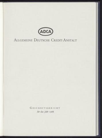 Geschäftsberichte Allgemeine Deutsche Credit-Anstalt / ADCA Bank 1966-01-01