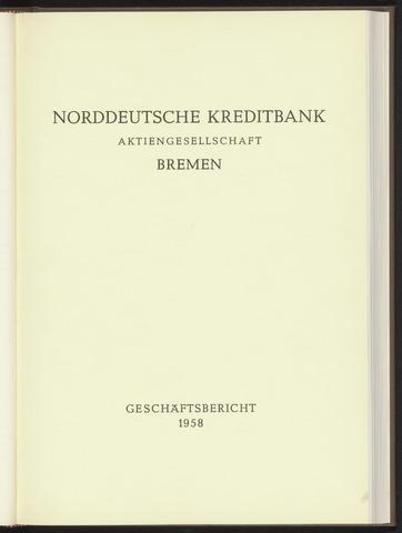 Geschäftsberichte Norddeutsche Kreditbank 1958-01-01