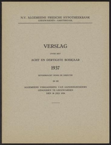 Jaarverslagen Algemeene Friesche Hypotheekbank 1937