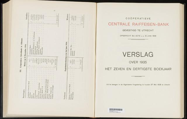 Jaarverslagen Coöperatieve Centrale Raiffeisen-Bank 1935