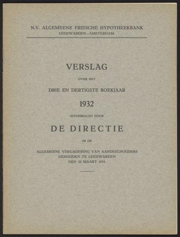Jaarverslagen Algemeene Friesche Hypotheekbank 1932