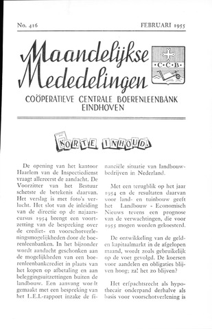 blad 'Maandelijkse Mededelingen' (CCB) 1955-02-01