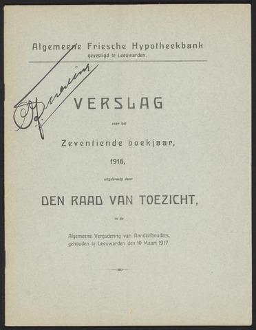 Jaarverslagen Algemeene Friesche Hypotheekbank 1916