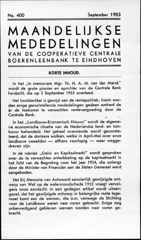 blad 'Maandelijkse Mededelingen' (CCB) 1953-09-01