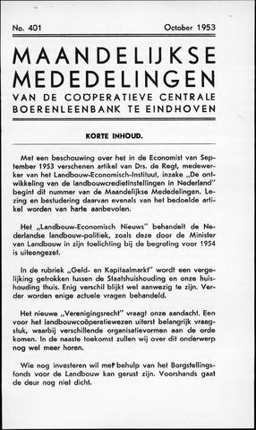 blad 'Maandelijkse Mededelingen' (CCB) 1953-10-01