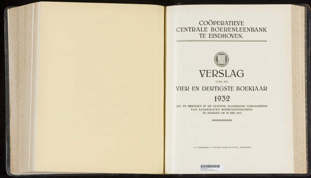 Jaarverslagen Coöperatieve Centrale Boerenleenbank 1932