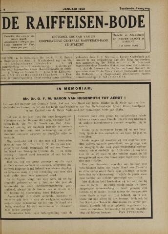 blad 'De Raiffeisen-bode' (CCRB) 1931-01-01