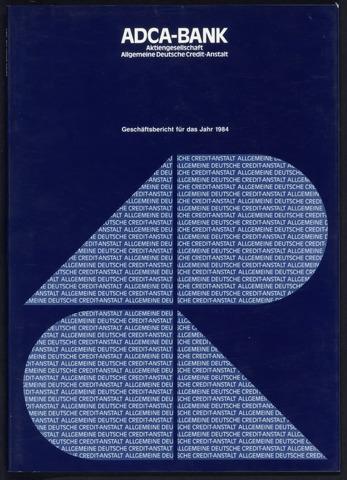 Geschäftsberichte Allgemeine Deutsche Credit-Anstalt / ADCA Bank 1984