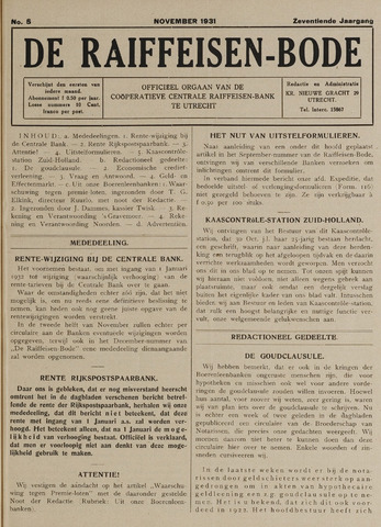 blad 'De Raiffeisen-bode' (CCRB) 1931-11-01