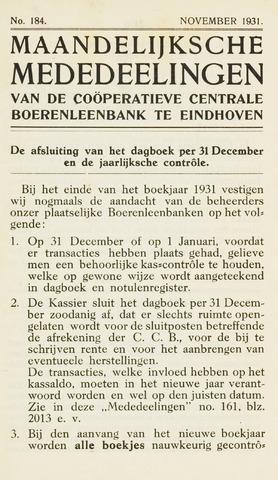blad 'Maandelijkse Mededelingen' (CCB) 1931-11-01