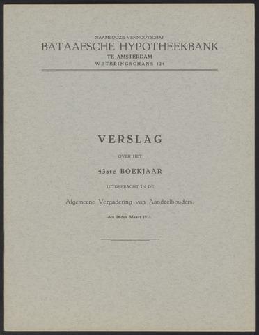 Jaarverslagen Bataafsche Hypotheekbank 1932