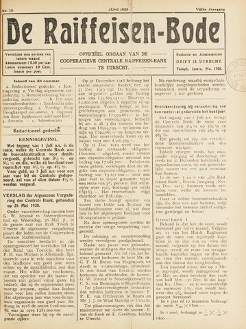 blad 'De Raiffeisen-bode' (CCRB) 1920-06-01