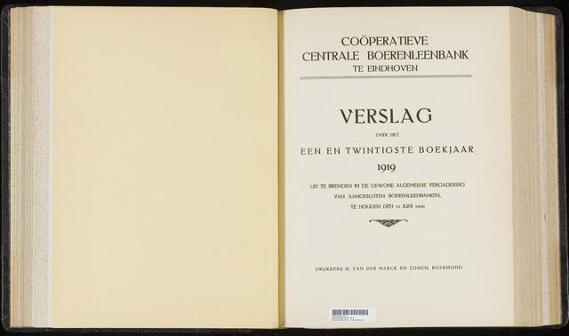 Jaarverslagen Coöperatieve Centrale Boerenleenbank 1919