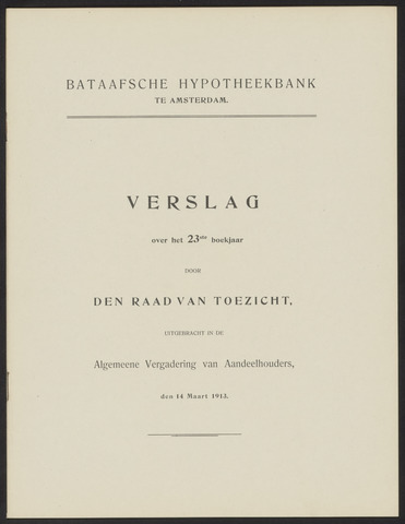 Jaarverslagen Bataafsche Hypotheekbank 1912