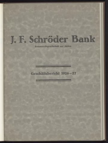 Geschäftsberichte Bankhaus Schröder 1926-01-01