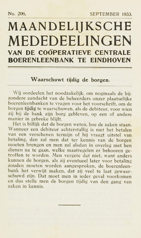 blad 'Maandelijkse Mededelingen' (CCB) 1933-09-01