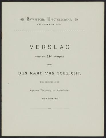 Jaarverslagen Bataafsche Hypotheekbank 1908