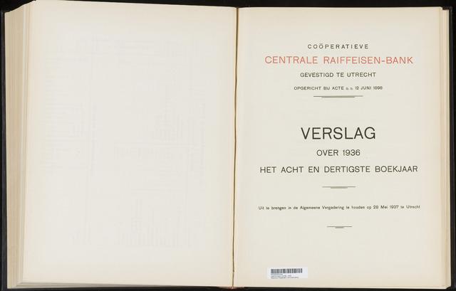 Jaarverslagen Coöperatieve Centrale Raiffeisen-Bank 1936