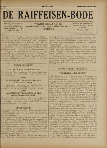 blad 'De Raiffeisen-bode' (CCRB) 1931-04-01