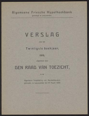Jaarverslagen Algemeene Friesche Hypotheekbank 1919