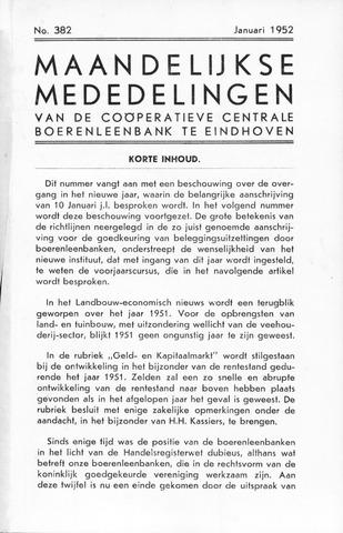 blad 'Maandelijkse Mededelingen' (CCB) 1952