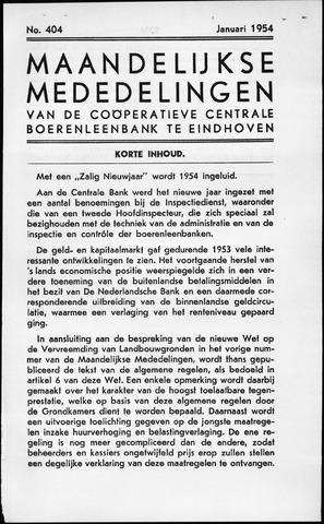 blad 'Maandelijkse Mededelingen' (CCB) 1954-01-01