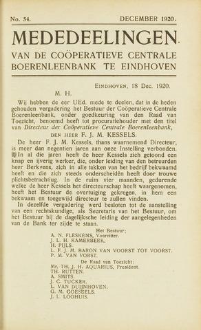blad 'Maandelijkse Mededelingen' (CCB) 1920-12-01