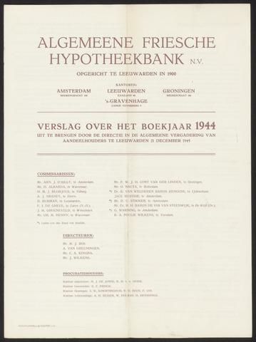 Jaarverslagen Algemeene Friesche Hypotheekbank 1944