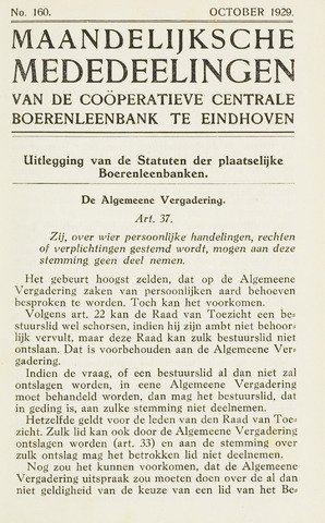 blad 'Maandelijkse Mededelingen' (CCB) 1929-10-01