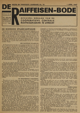 blad 'De Raiffeisen-bode' (CCRB) 1947-04-01