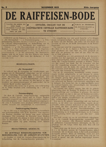 blad 'De Raiffeisen-bode' (CCRB) 1925-11-01