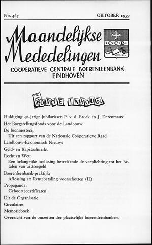 blad 'Maandelijkse Mededelingen' (CCB) 1959-10-01