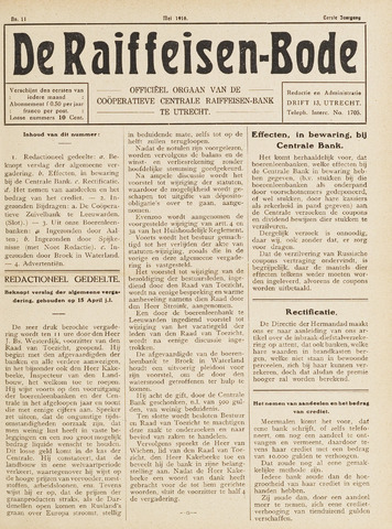 blad 'De Raiffeisen-bode' (CCRB) 1916-05-01