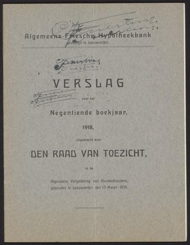 Jaarverslagen Algemeene Friesche Hypotheekbank 1918