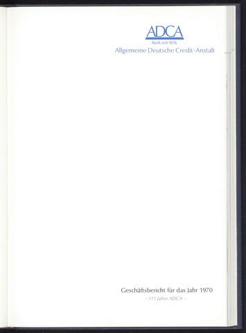 Geschäftsberichte Allgemeine Deutsche Credit-Anstalt / ADCA Bank 1970-01-01