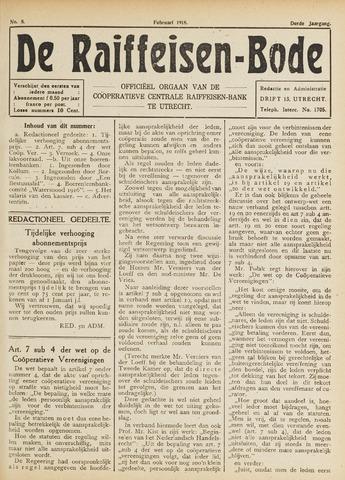 blad 'De Raiffeisen-bode' (CCRB) 1918-02-01