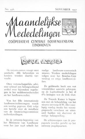 blad 'Maandelijkse Mededelingen' (CCB) 1957-11-01