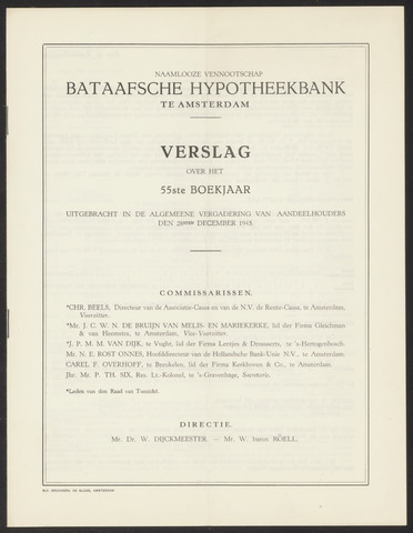 Jaarverslagen Bataafsche Hypotheekbank 1944