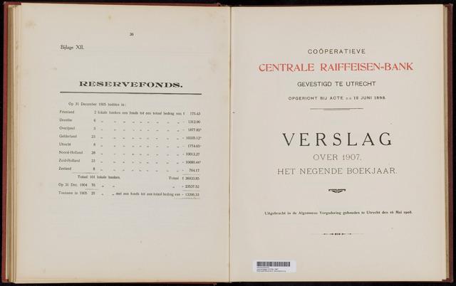 Jaarverslagen Coöperatieve Centrale Raiffeisen-Bank 1907-12-31